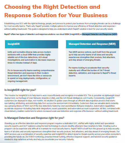 Choosing the Right Detection and Response Solution for your Business