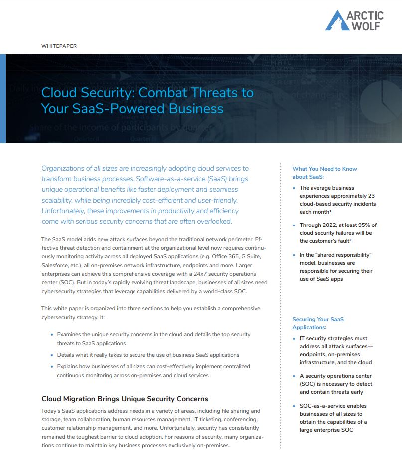 Cloud Security: Combat Threats to Your SaaS-Powered Business