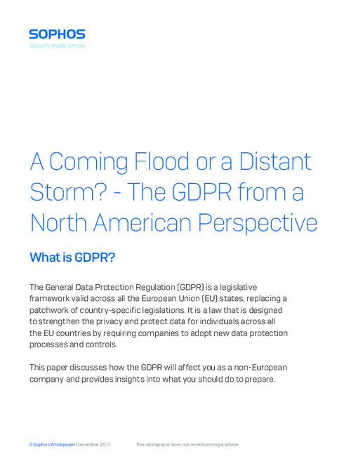 A Coming Flood or a Distant Storm? The GDPR from a North American Perspective
