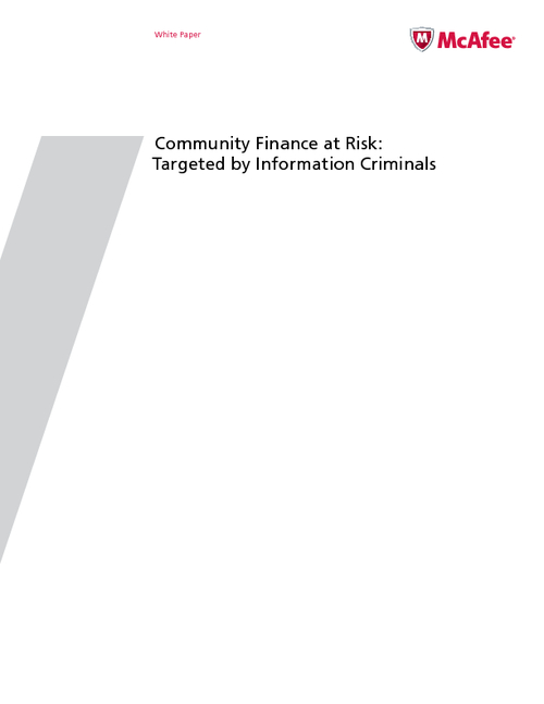 Community Finance: Targeted by Information Criminals