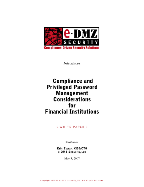 Compliance and Privileged Password Management Considerations for Financial Institutions