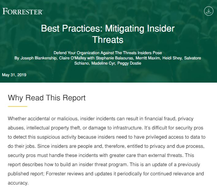 Complimentary Forrester Research - Best Practices for Mitigating Insider Threats