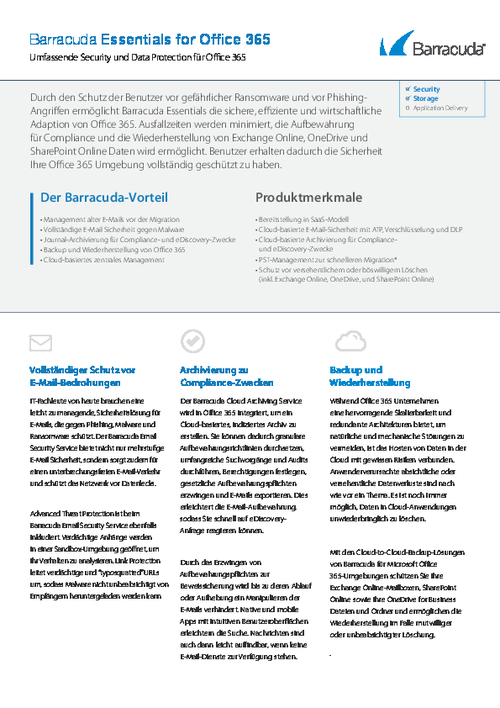 Comprehensive Security and Data Protection for Office 365 (German Language)