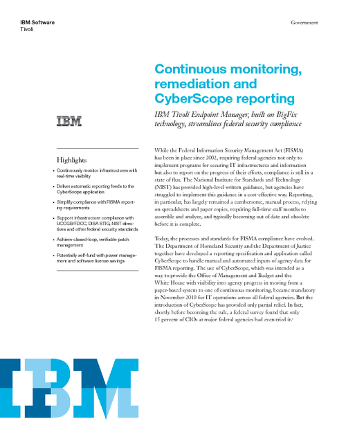 Continuous Monitoring, Re-mediating and CyberScope Reporting