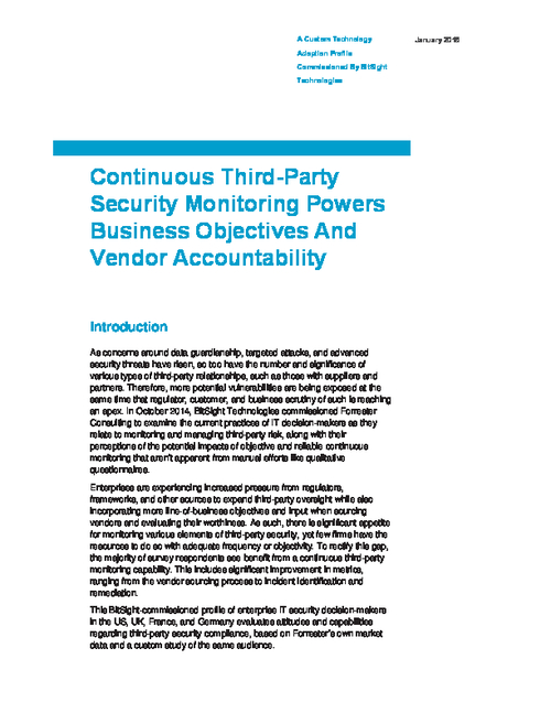 Continuous Third-Party Security Monitoring Powers Business Objectives and Vendor Accountability