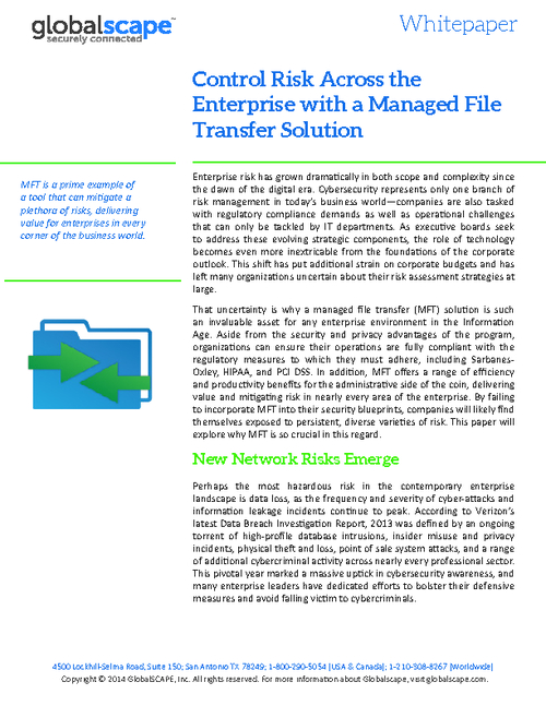 Control Risk Across the Enterprise with a Managed File Transfer Solution