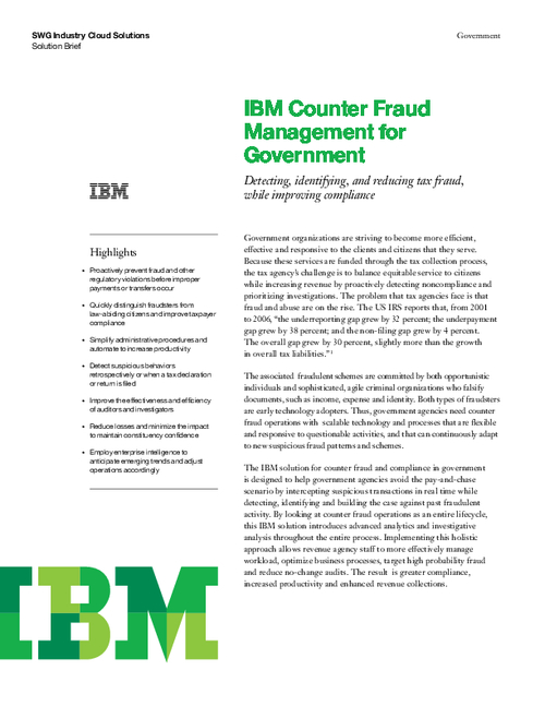 Counter Fraud Management for Government