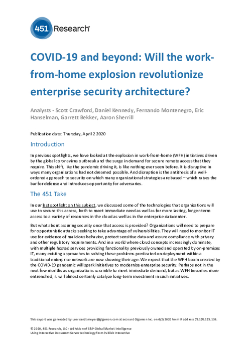 451 Report: COVID-19 and Beyond: Will the Work From- Home Explosion Revolutionize Enterprise Security Architecture?