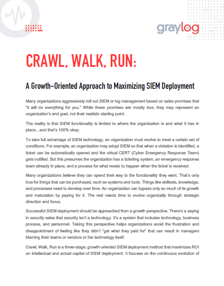 Crawl, Walk, Run: Maximizing SIEM