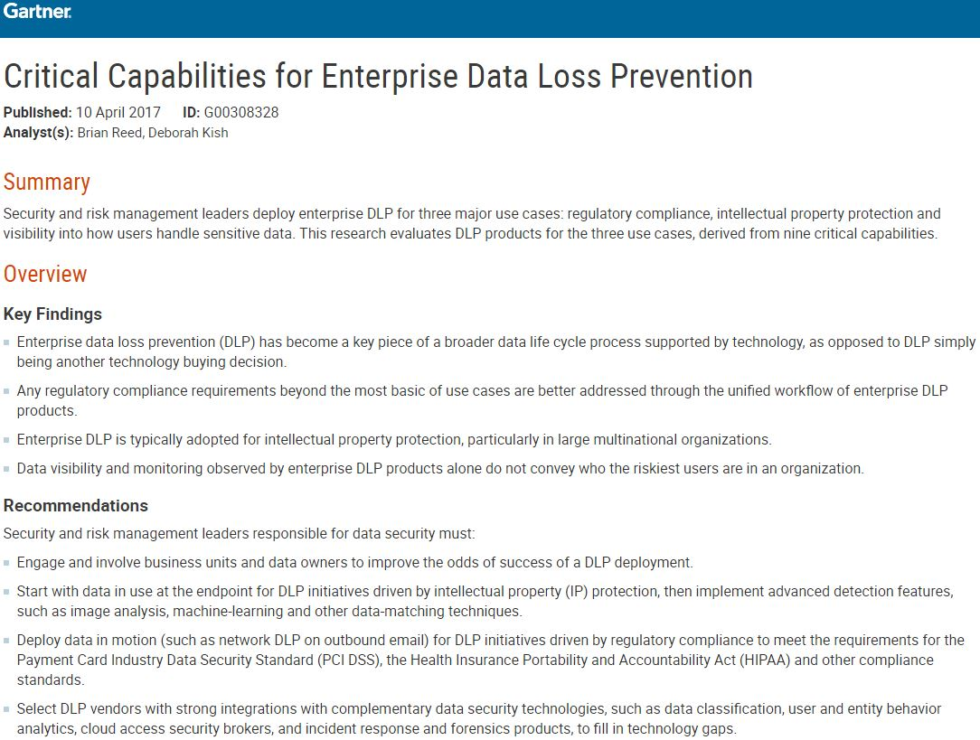 Critical Capabilities for Enterprise Data Loss Prevention