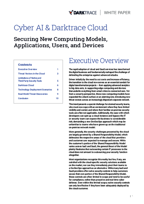 Cyber AI & Darktrace Cloud: Securing New Computing Models, Applications, Users, and Devices