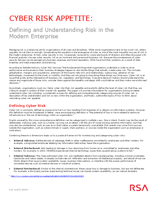 Cyber Risk Appetite: Defining and Understanding Risk in the Modern Enterprise