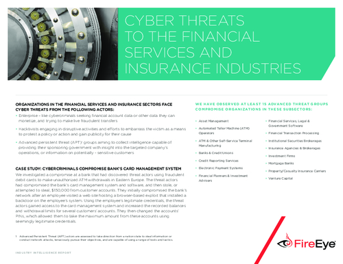 Cyber Threats to the Financial Services and Insurance Industries