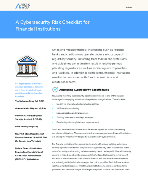 A Cybersecurity Risk Checklist for Financial Institutions