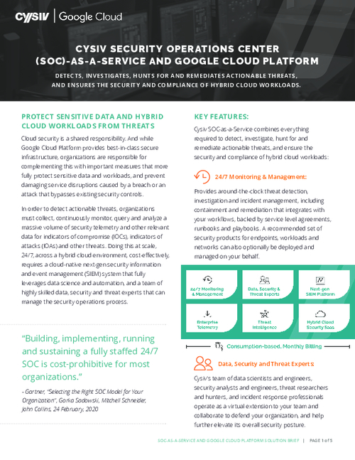 Cysiv Security Operations Center (SOC)-as-a-Service and Google Cloud Platform