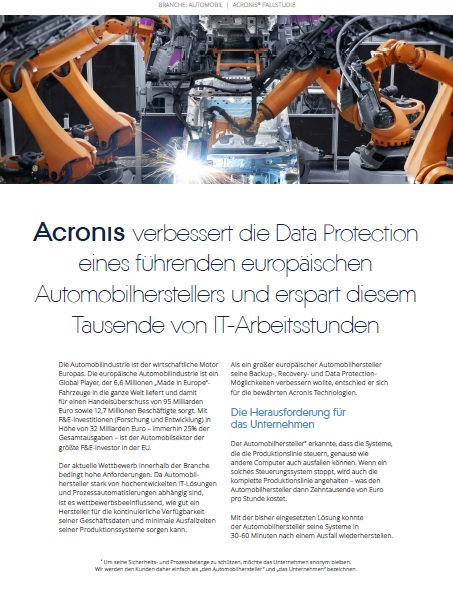 Data Loss & Critical Downtime: The Financial Implications for the Auto Industry (German Language)