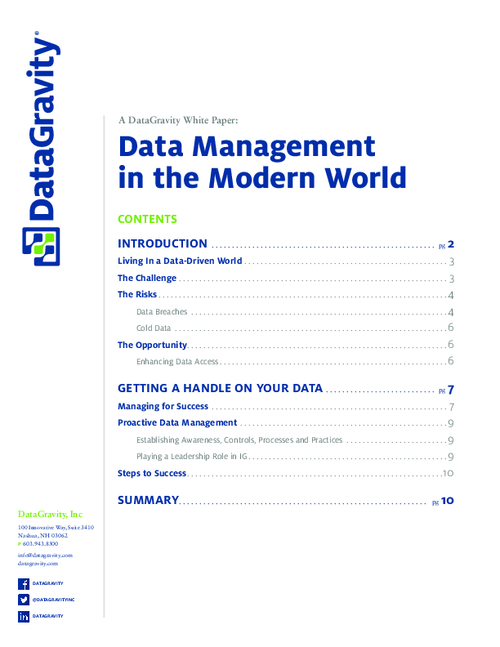 Data Management in the Modern World