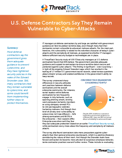 Defense Contractors Say They Remain Vulnerable to Cyber-Attack