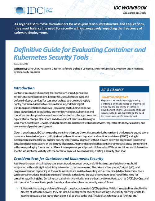 IDC Guide: Evaluating Container Security Tools