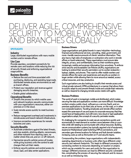 Deliver Agile, Comprehensive Security to Mobile Workers and Branches Globally
