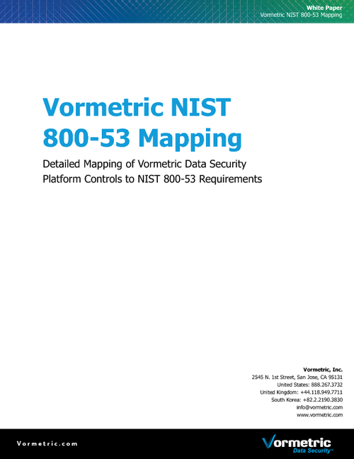 Aligning Data Security with NIST 800-53 Requirements