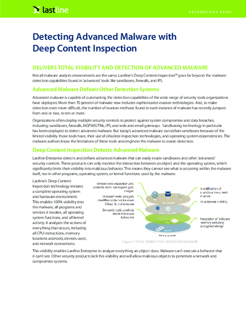 Detecting Advanced Malware with Deep Content Inspection