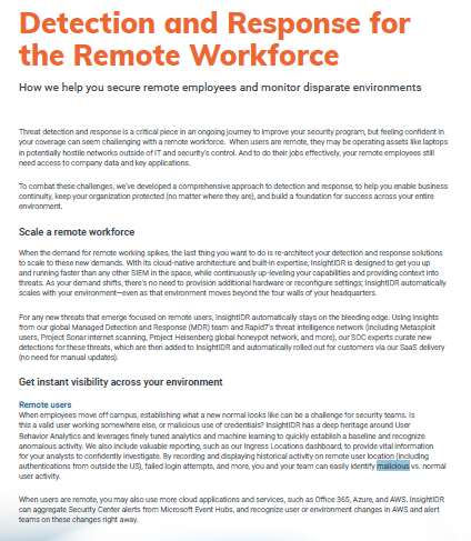Detection and Response for the Remote Workforce