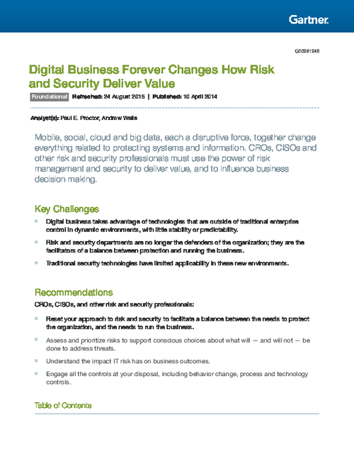 Gartner Report: Digital Business Forever Changes How Risk and Security Deliver Value