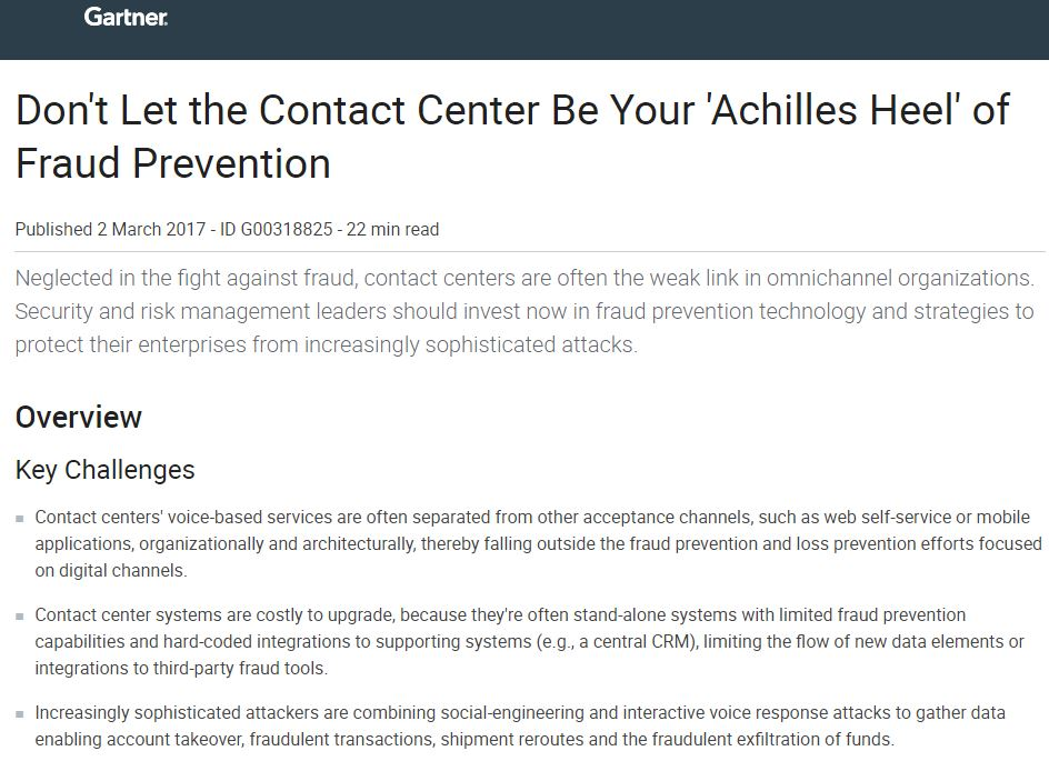 Gartner: Secure Your Contact Center Against Fraud