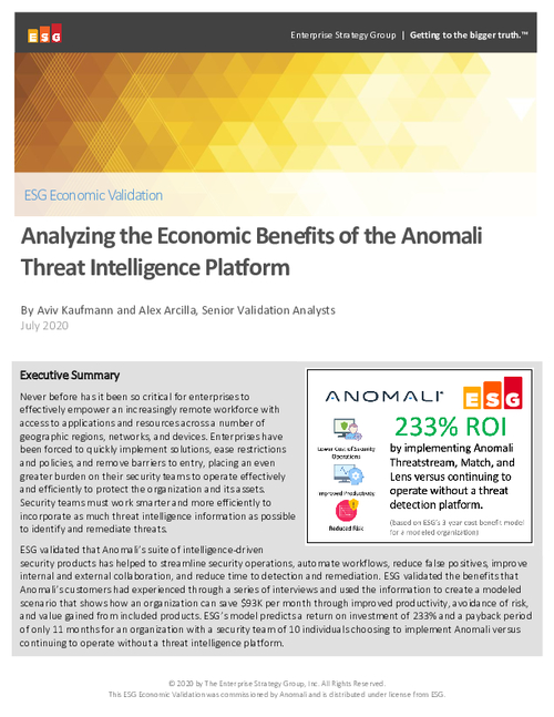 Economic Validation Report of the Anomali Threat Intelligence Platform