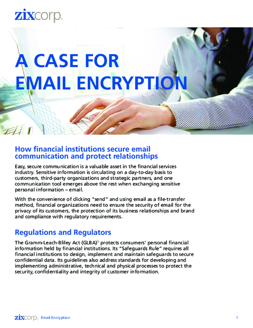 Email Encryption for Finance: FFIEC and GLBA Regulations