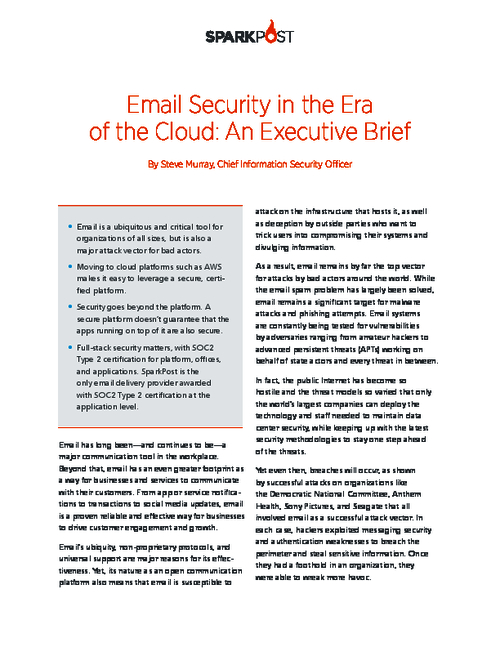 Email's Need For The Security Advantages of Cloud Infrastructure