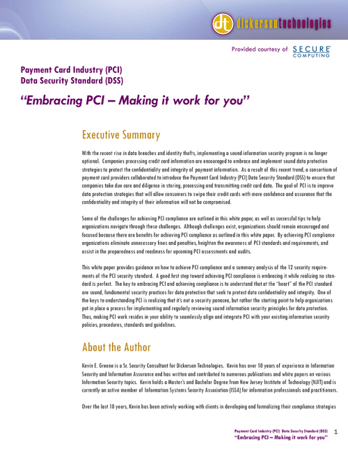 Embracing PCI - Making it work for you