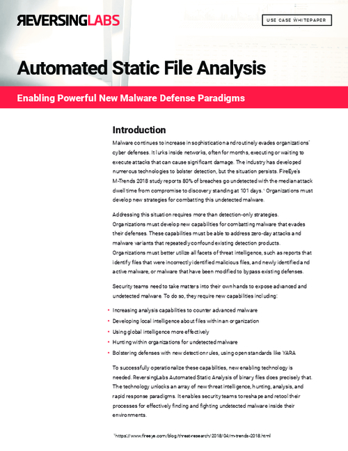 Enabling Powerful New Malware Cyber Defense Paradigms with Automated Static Analysis