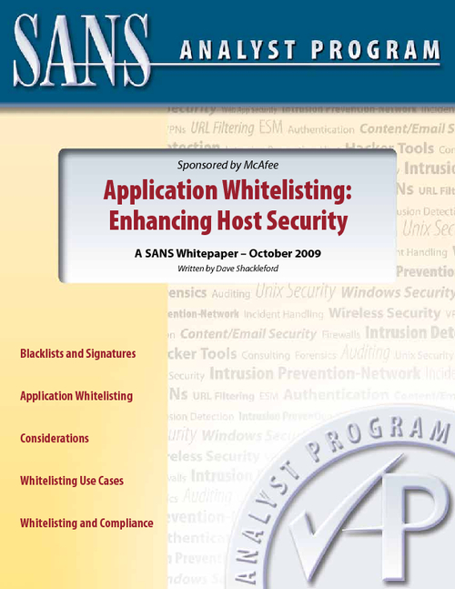 Enhancing Host Security: Application Whitelisting