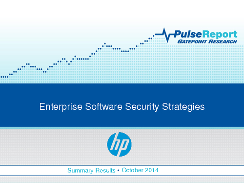 Enterprise Software Security Strategies Pulse Report (SSA)