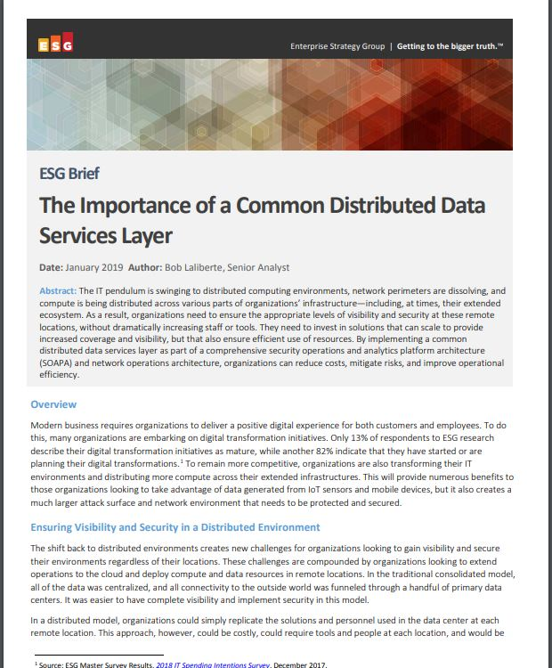 ESG Brief: The Importance of a Common Distributed Data Services Layer