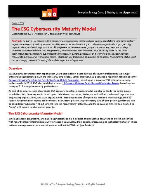 ESG Cyber Security Maturity Model