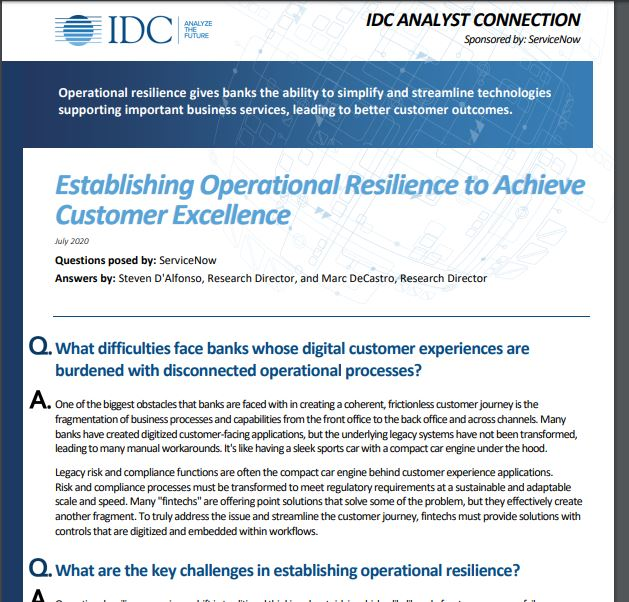 Establishing Operational Resilience to Achieve Customer Excellence