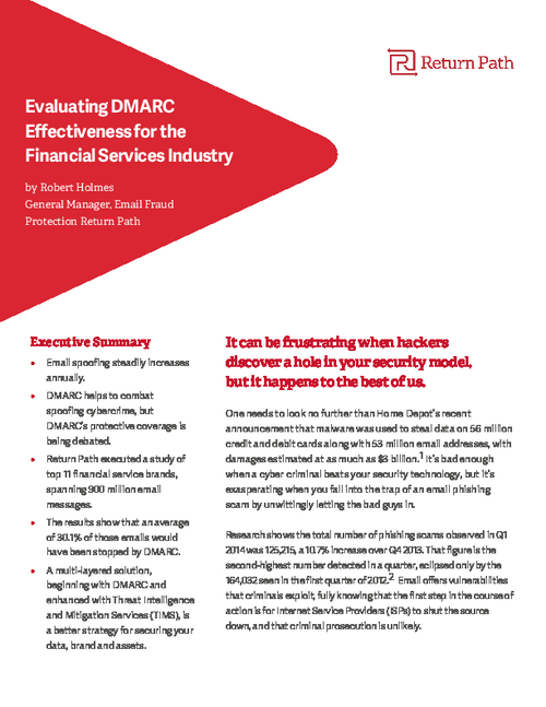Evaluating DMARC Effectiveness for the Financial Services Industry