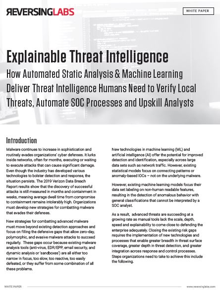 Explainable Threat Intelligence: How Automated Static Analysis & Machine Learning Deliver Necessary Threat Intelligence