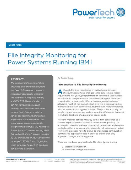 File Integrity Monitoring for IBM i