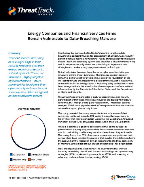 Financial Services Firms and Energy Companies Vulnerable to Data-Breaching Malware