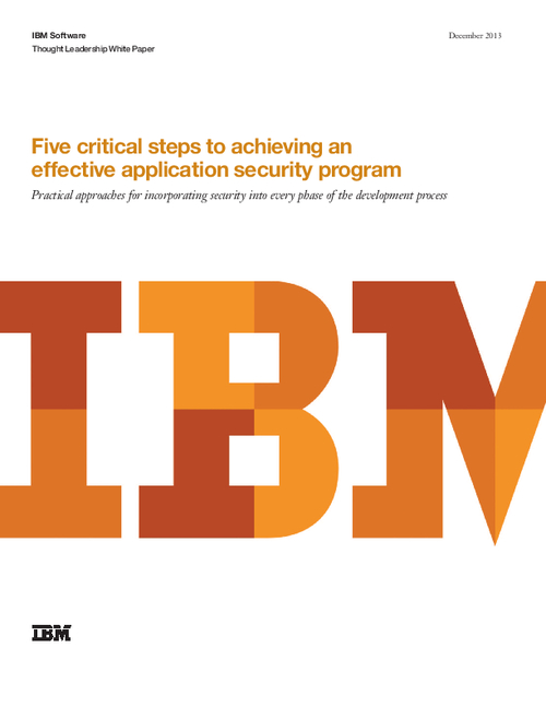 Five Critical Steps to Achieving an Effective Application Security Program