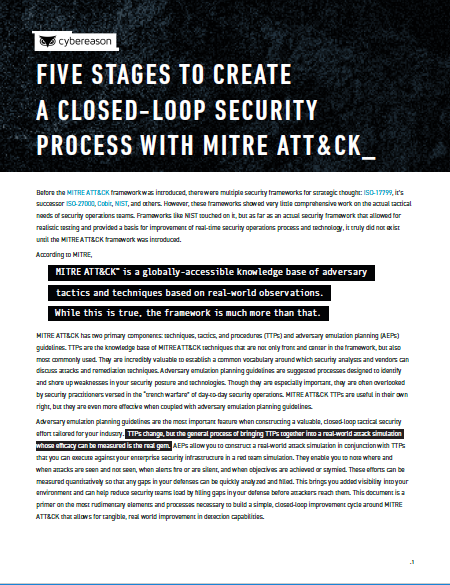 Five Stages to Create a Closed-Loop Security Process with MITRE ATT&CK