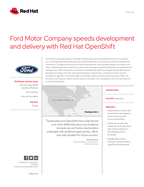 Ford Motor Company Speeds Development and Delivery with Red Hat OpenShift