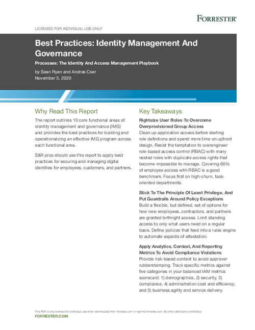Forrester Best Practices: Identity Management And Governance