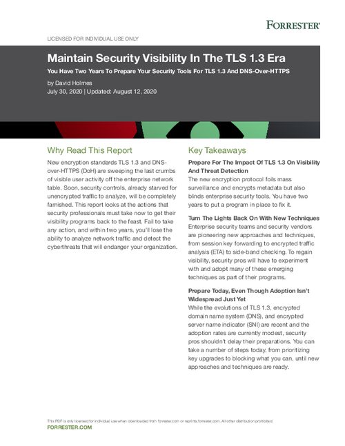 Forrester: Maintain Security Visibility in the TLS 1.3 Era