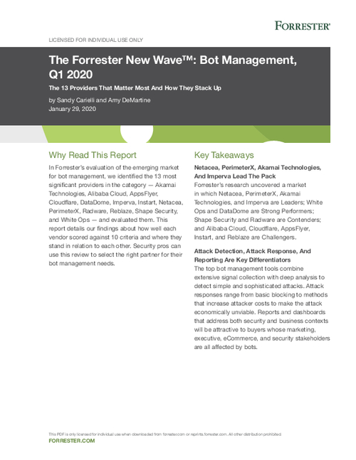 PerimeterX is named a leader in Bot Management by Forrester