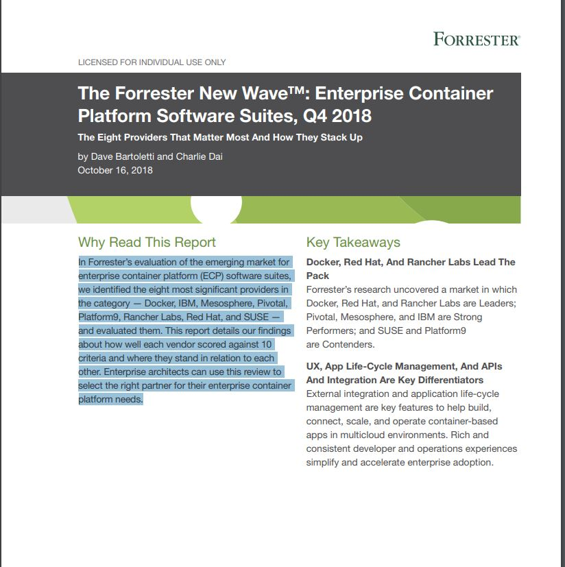 The Forrester New Wave: Enterprise Container Platform Software Suites